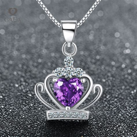 Kalung Mahkota Silver crown pendant white purple rodhium 925 sterling silver