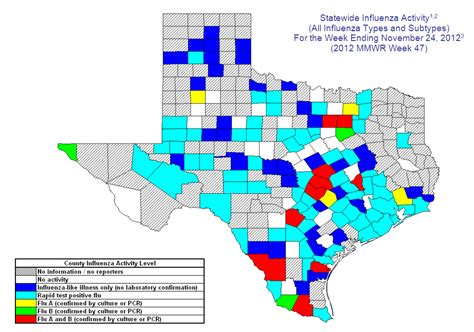 texas flu map 2012 2013 dshs flu report week 47