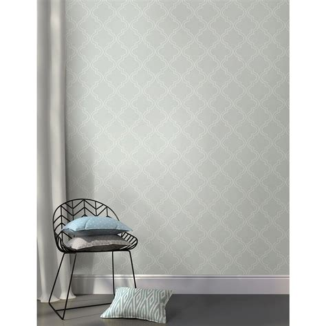 peel and stick wallpaper nuwallpaper 30 75 sq ft grey quatrefoil peel and stick