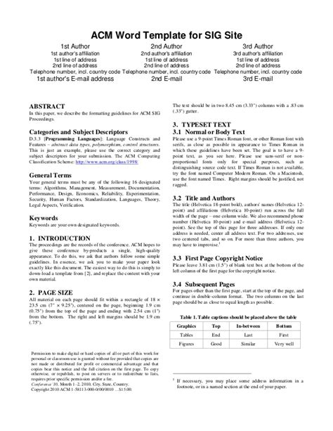 acm template acm word template for sig site