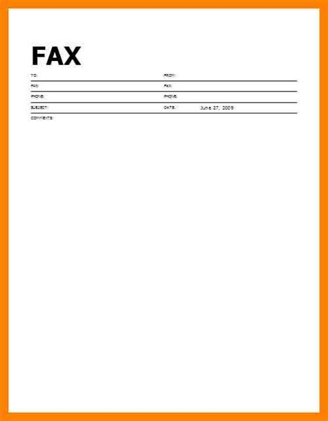fax cover sheet template   site