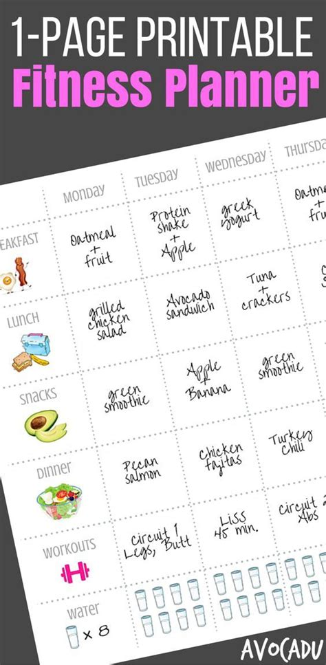 printable diet and exercise planner 1 page printable fitness planner weight loss fitness
