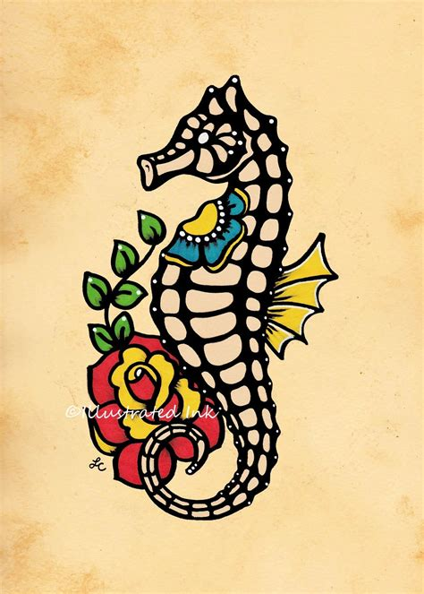 tattoo old school artist old school tattoo seahorse flash art print 5 x 7 8 x 10 or 11