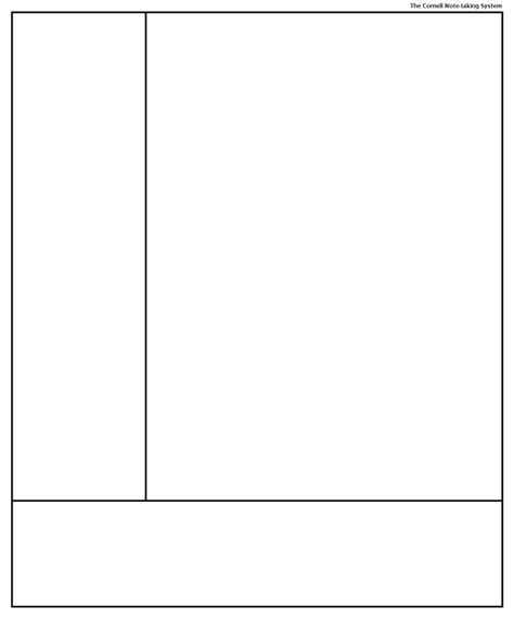 cornell note taking system template template for