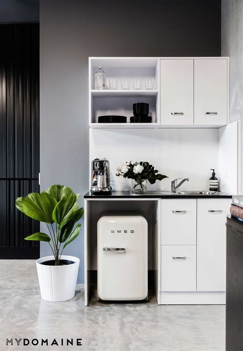 calling minimalists beauty bloggers office dream true workspaces offices pinterest office kitchenette kitchen