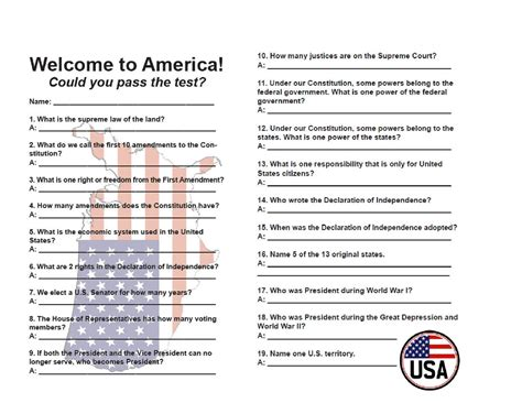quiz questions usa 19 out of 100 questions that