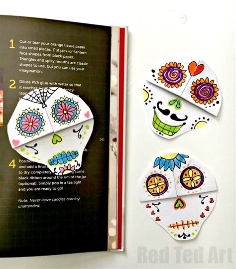 printable skull bookmarks sugar skulls bookmark diy red ted art s blog