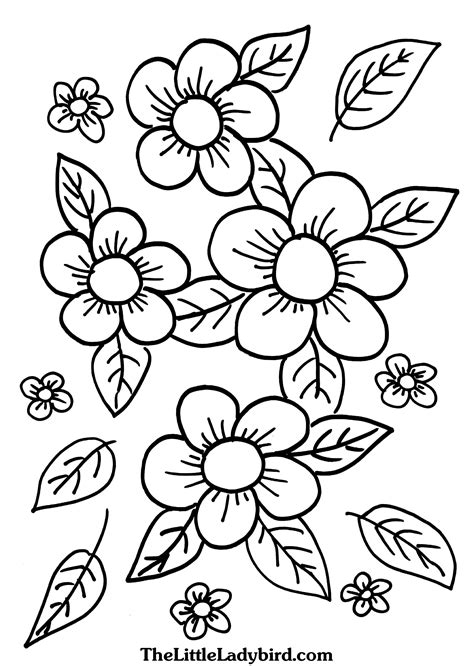 coloring pages of little flowers printable free sunflower