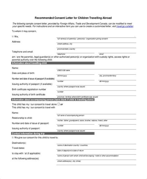 Consent Letter For Children Travelling Abroad by Sle Consent Letter For Children Travelling Abroad With One Parent World Of Exles