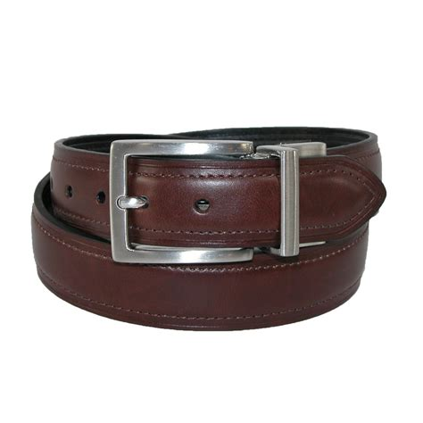 boys leather brushed nickel buckle reversible belt by