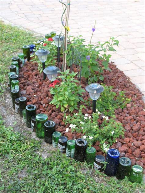 Garden Boarder Ideas Terrific Ideas For Lawn Edging Unique Ideas For Lawn Edging With Various Empty Glass Bottles