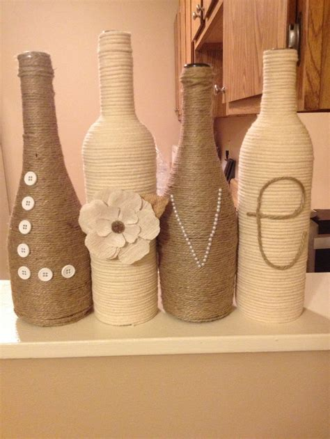 Decorated wine bottles   Bridal shower   Pinterest