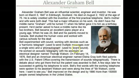 biography text of alexander graham bell esl reading alexander graham bell youtube