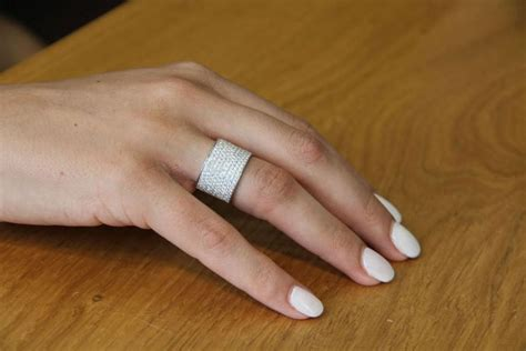 wide band ring 18k white gold wedding band 2 2 tcw