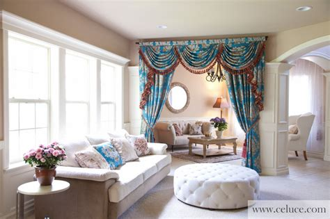 Swag Curtains For Living Room Ideas Blue Lantern Swag Valance Curtain Set Traditional Living Room Seattle By Celuce