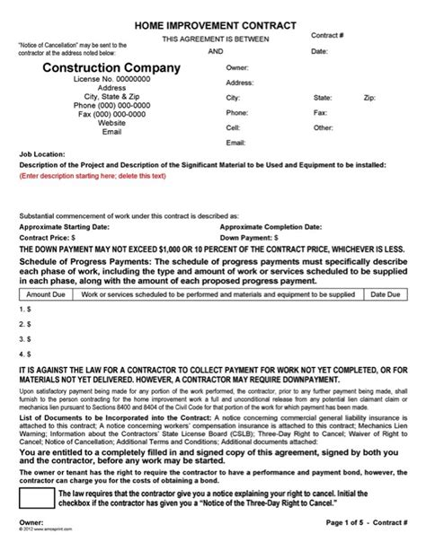 Home Improvement Contract Template 100 Home Improvement Contract Template Appendix B To Part Home Improvement Contract Template Word