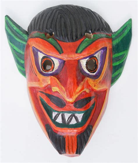 Mask Handmade - wood mask indian ceremony masks handmade in ecuador