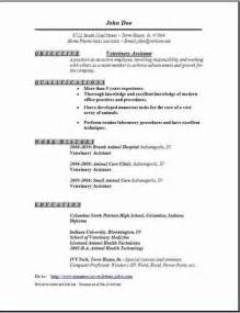 Veterinary Assistant Sle Resume by Veterinary Resume Resume Format Pdf
