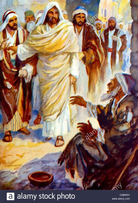 God Heals The Blind Man Blind Bartimaeus Calls To Jesus To Restore His Sight