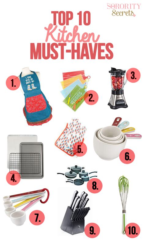 kitchen must haves list the sorority secrets