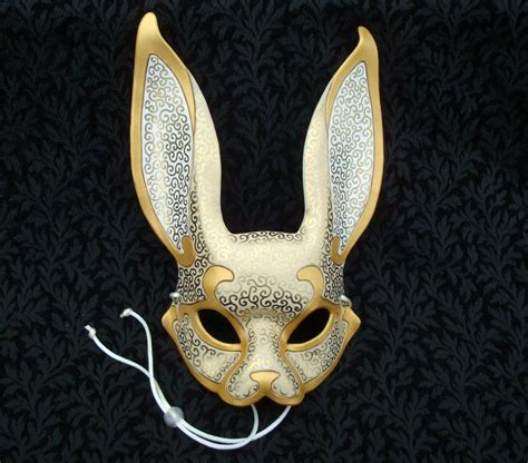 Handcrafted Masks - venetian rabbit mask v12 handmade leather rabbit by