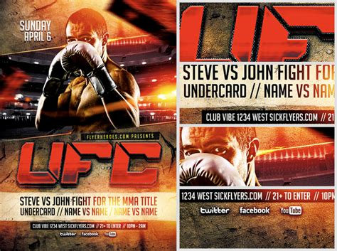 Ufc Poster Template ufc style fight flyer template flyerheroes