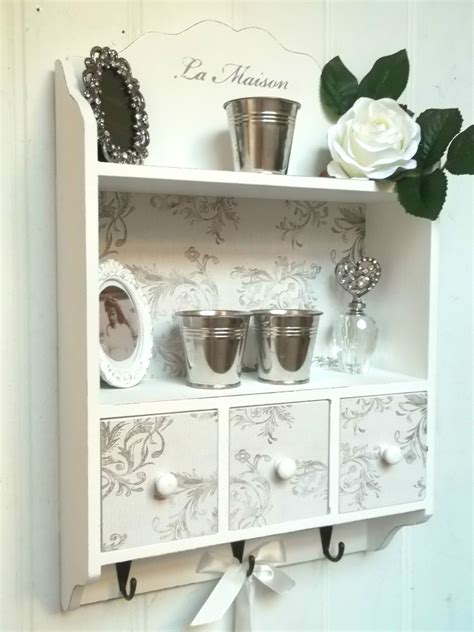 Shabby Chic Wall Unit Shelf Storage Cupboard Cabinet Hooks