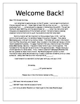 Parent Welcome Letter 5th Grade Parent Letters Welcome Winter Thank You End Of Year The O Jays End Of And