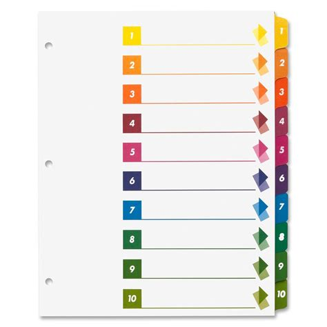 avery table of contents template 10 tab sparco table of contents index dividers ld products