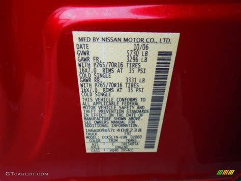 2007 nissan frontier se crew cab color code photos gtcarlot