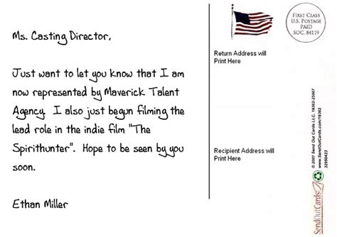 Sample Resume Format In Canada by Actor Postcard Examples The Postcarding Actor