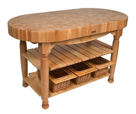 kitchen island butcher block table john boos harvest table oval butcher block island