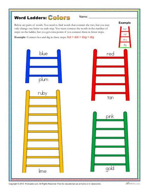 printable word ladder games colors word ladders worksheet for 2nd 3rd and 4th grade
