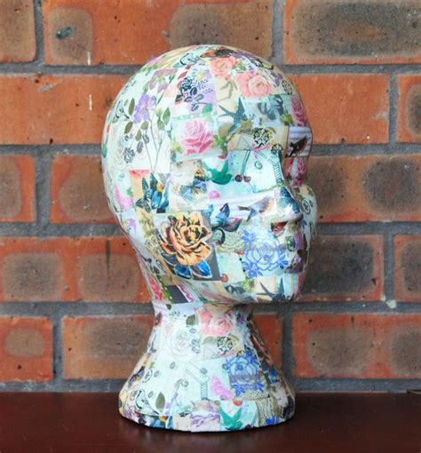 shabby chic decoupaged mannequin head wig hat display