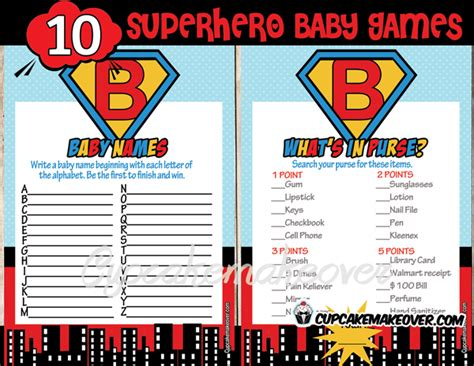 theme names for games superhero boy baby shower games instant download