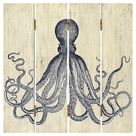 octopus home decor plank art octopus home decor wall decor from target