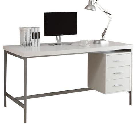 White Hollow Core Silver Metal Office Desk Contemporary White Hollow Corner Desk
