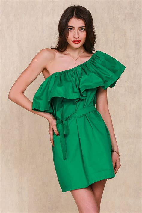 Dress Wanita dress wanita sabrina ruffles slash neck dress size s green jakartanotebook