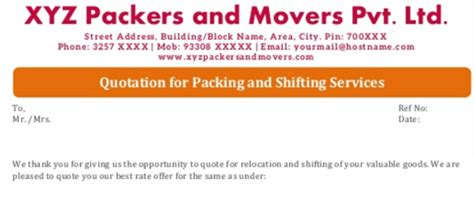 Packers And Movers Quotation Format Download It For Free Moving Company Quote Template