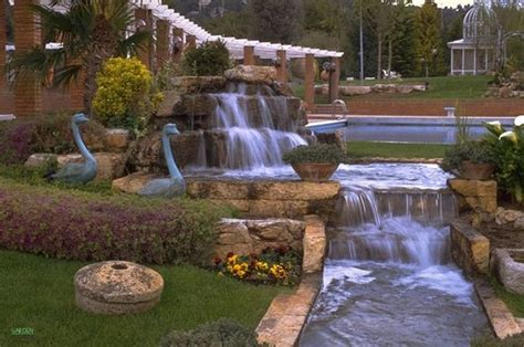 Cataratas Y Cascadas En El Jard 237 N 75 Ideas   imagenes de jardines con cascadas jardines cascadas en