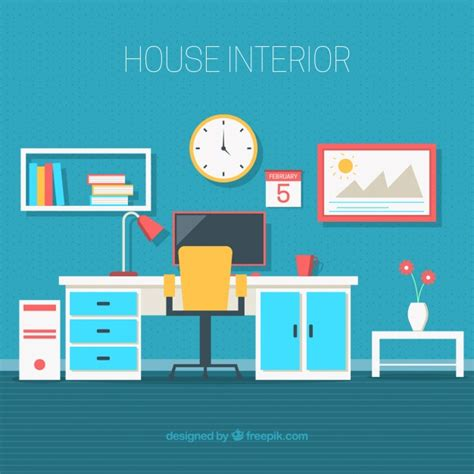 free home office design office with decorative objects in flat design vector