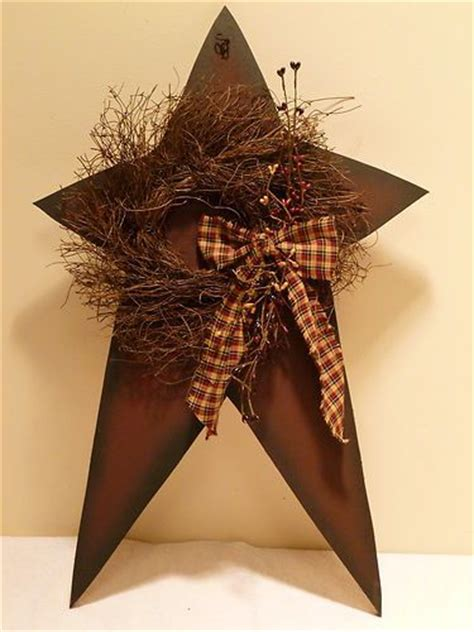 country stars decorations for the home star and wreath berries country primitive home decor