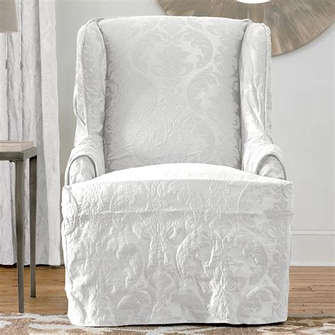 wing chair slipcover white sure fit slipcovers matelass 233 damask wing chair slipcover