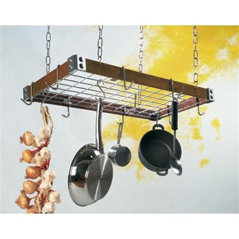 wood and metal pot rack in hanging pot racks