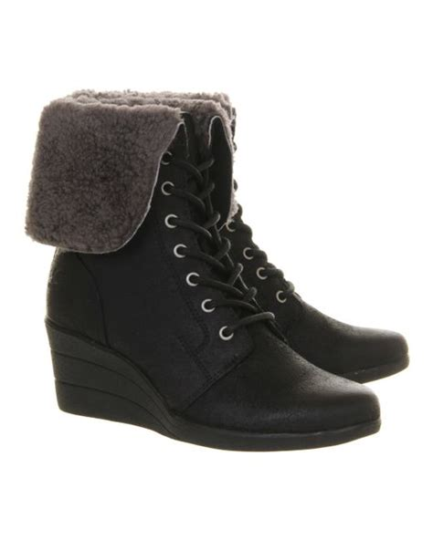 lace up ugg boots ugg zea shearling wedge lace up boots in black lyst