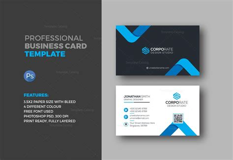 Corporate Business Card Templates by Corporate Business Card 000359 Template Catalog