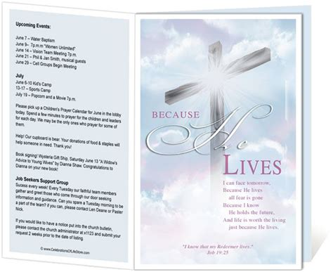Church Bulletin Templates Cross Church Bulletin Template With Embedded Script Quot Because He Free Church Program Template