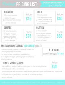 portrait pricing template branding photography price list