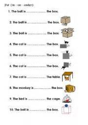 Worksheets gt prepositions gt in on under gt preposition in on under