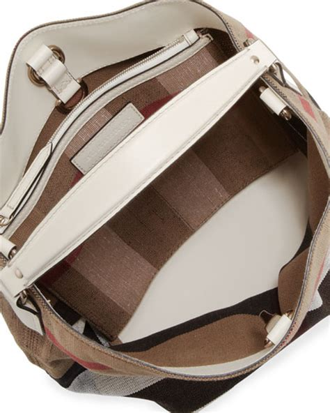 Burberry Check Canvas Hobo by Burberry Brit Asby Check Canvas Hobo Bag White